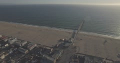 Flying West Towards the Hermosa Beach Pier Stock Footage