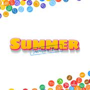 Vacation background with scattered summer icons - stock illustration