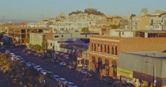 Aerial over fishermans wharf looking out to coit tower, San Francisco Stock Footage