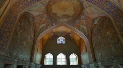 Historic remains of the beautifully painted vaults and ceiling of the Chehel Sot Stock Footage