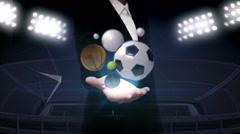 Businessman open palm, various sports ball, baseball, soccer, basketball. Stock Footage