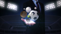Businesswoman open palm, various sports ball, baseball, soccerball, basketball. Stock Footage