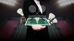 Businesswoman open palm, Badminton icon, shuttlecock, net, Badminton Stadium. - stock footage