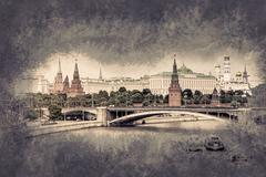 Moscow River and the Kremlin Piirros