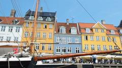 Nyhavn Canal Copenhagen Denmark Stock Footage