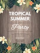 Bright hawaiian design with tropical plants and hibiscus flowers Stock Illustration