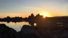 Sun Rising Behind South Tufa Mono Lake California USA Stock Footage