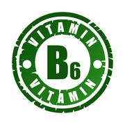 Green round rubber stamp with vitamin B6 Stock Illustration