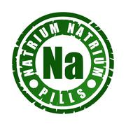 Green round rubber stamp with mineral Na (natrium) Stock Illustration