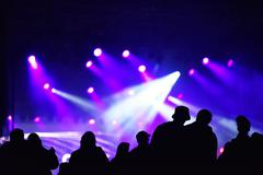 Silhouette of cheering crowd at a concert. Colorful bright stage lights in th Stock Photos