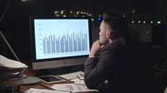 Tired Businessman Analyzing Financial Data Stock Footage