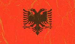Albania flag painted on crumpled paper background - stock photo