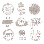 Organic Farm Food Grey Logo Set Stock Illustration