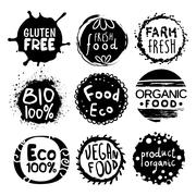 Organic Bio Food Black And White Label Set - stock illustration