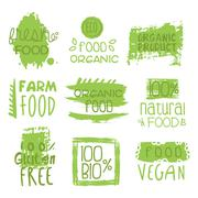Farm Vegan Food Green Set Of Label - stock illustration