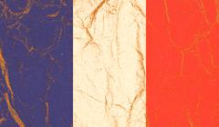 French flag, image is overlaying a grungy paper texture. Stock Photos