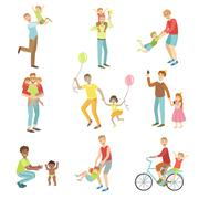 Fathers Playing With Kids Set Of Illustrations - stock illustration