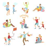 Fathers Day Illustration Set Of Dads Playing With Kids - stock illustration