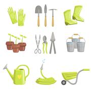 Gardening Equipment Set Of Icons Stock Illustration