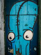 Close up of an graffiti art octopuss on the wall of a home in Ponta Delgada, Azo Stock Photos