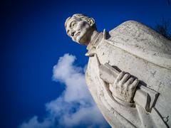 Sculpture of a  poet in Ponta Delgada, Sao Miguel island, Azores, Portugal Stock Photos