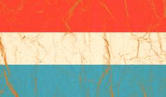 Luxembourg flag painted on crumpled paper background Stock Photos