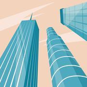 Skyscrapers in the city. Bottom view. Cartoon vector illustration Stock Illustration
