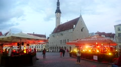 TALLIN, ESTONIA, JULY 4 Time-lapse of tallin town hall and the market square  Stock Footage