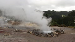 Hot springs in Furnas, Sao Miguel island, Azores, Portugal Stock Footage