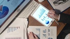 Woman Analyzing Financial Statistics Stock Footage