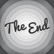 The end typography BW old movie screen vector Stock Illustration