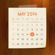 Calendar May 2014 vintage paper note on wood background Stock Illustration