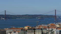 25 de Abril bridge seen from Sao Jorge Castle Stock Footage