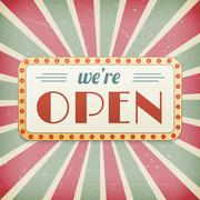 We are open vintage background vector sign. layered. Stock Illustration
