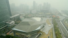Aerial shot of Guangzhou city under haze - stock footage