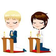 First Communion Prayer Boys Stock Illustration