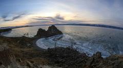 Sunset on Lake Baikal. Burkhan Cape, Olkhon island, Lake Baikal, Irkutsk region Stock Footage