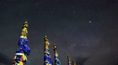Serge Poles. Starry night over the island Olkhon. Burkhan Cape, Olkhon island,  Stock Footage