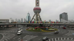 Shanghai Oriental Pearl TV Tower and busy traffic Stock Footage