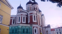 Time-lapse of alexander nevsky church, in Tallinn, Estonia Stock Footage