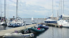 TALLINN, ESTONIA, JULY 4 Time-lapse of Lots boats, at pirita jacht club, in P Stock Footage
