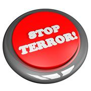 Button with words Stop Terror - stock illustration