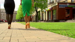 Woman's sexy feet. Sexy women walks - stock footage