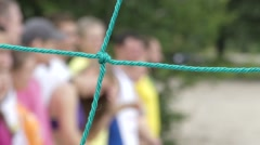 Volleyball Net Close-Up. Professional Volleyball Competitions. the Parade of Stock Footage