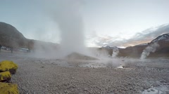 Steam From Geysers. Valley of Geysers and Hot Springs, Atacama Desert, Chile Stock Footage