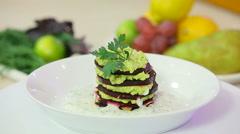 Beet and avocado sandwich with yogurt dressing Stock Footage