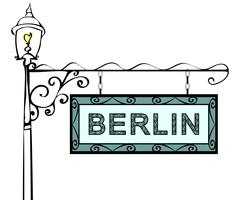 Berlin retro vintage pointer lamppost Piirros