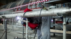 The nuclear power plant. Manual welding is carried out by the welder. HD Stock Footage