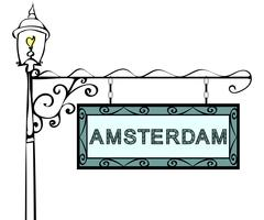 Amsterdam retro vintage pointer lamppost Stock Illustration