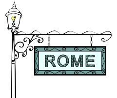Rome retro vintage pointer lamppost Stock Illustration